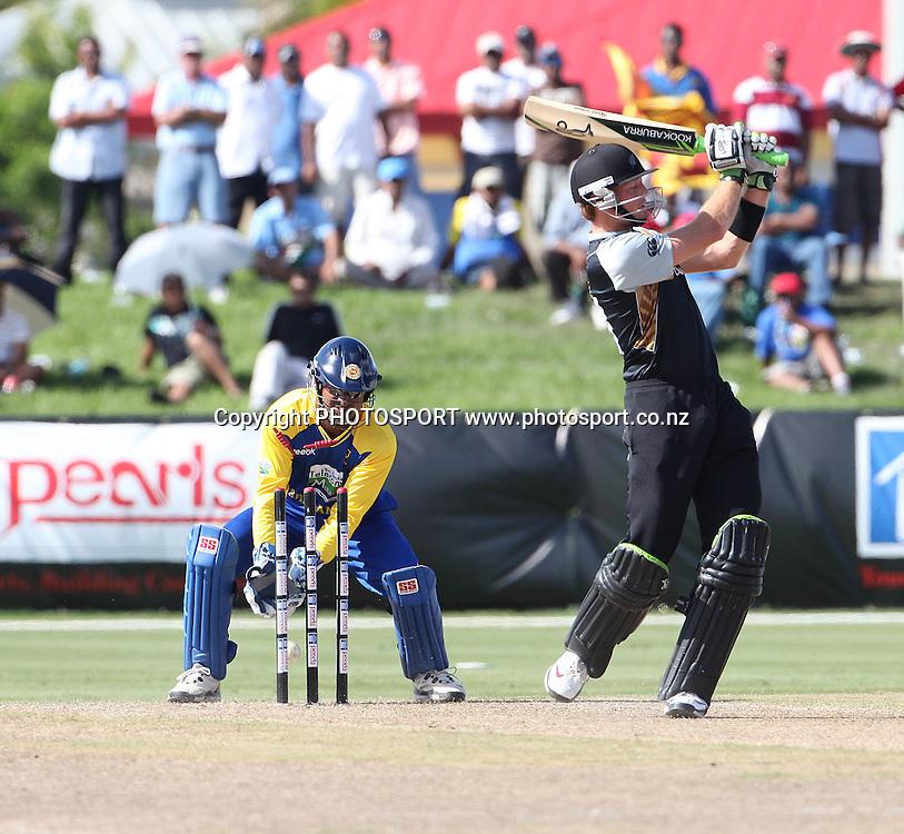 Guptill bowled Mendis. New Zealand Black Caps v Sri Lanka, international exhibition Twenty 20 cricket match, Central Broward Regional Park, Florida, United States of America. 22 May 2010. Photo: Barry Bland/PHOTOSPORT