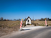 Another Roadside Attraction - warning signs near roadside Shrine, near Melden, Ooudenarde, Flanders, Belgium.