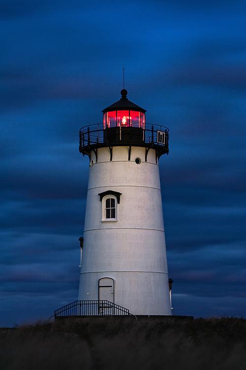 Edgartown Lighthouse at night, Martha's Vineyard, Massachusetts, USA