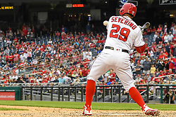 May 6, 2018 - Washington, DC, U.S. - WASHINGTON, DC - MAY 06:  Washington Nationals catcher Pedro Severino (29) draws a walk with the bases loaded in the ninth inning to tie the game between the Philadelphia Phillies and the Washington Nationals on May 6, 2018, at Nationals Park, in Washington D.C.  The Washington Nationals defeated the Philadelphia Phillies, 5-4.  (Photo by Mark Goldman/Icon Sportswire) (Credit Image: © Mark Goldman/Icon SMI via ZUMA Press)