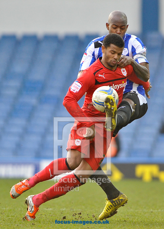 Picture by Richard Land/Focus Images Ltd +44 7713 507003.16/03/2013.Anthony Gardner of Sheffield Wednesday and Fraizer Campbell of Cardiff City during the npower Championship match at Hillsborough, Sheffield.
