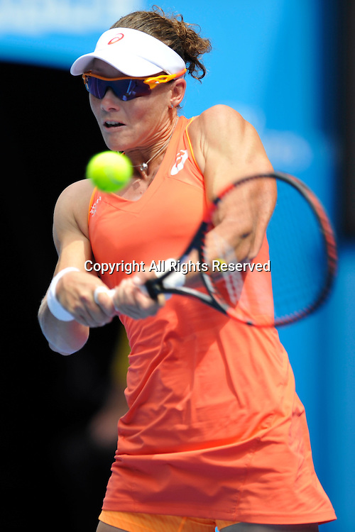 20.01.2015 Australian Open Tennis from Melbourne Park. Samantha Stosur of Australia returns a shot in her match against Monica Niculescu of Romania on day two of the 2015 Australian Open at Melbourne Park, Melbourne, Australia.