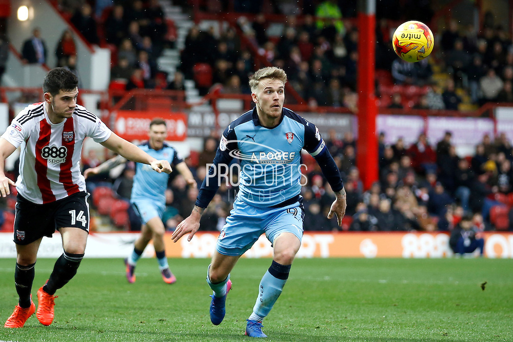 Rotherham United midfielder Danny Ward (9) eyes up a volley in the box during the EFL Sky Bet Championship match between Brentford and Rotherham United at Griffin Park, London, England on 25 February 2017. Photo by Andy Walter.