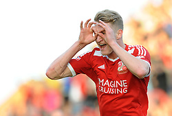 Swindon Town's Michael Smith celebrates his goal which makes it 3-0 - Photo mandatory by-line: Dougie Allward/JMP - Mobile: 07966 386802 - 11/05/2015 - SPORT - Football - Swindon - County Ground - Swindon Town v Sheffield United - Sky Bet League One - Play-Off