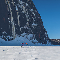 Jeff Mercier and Pierre Raymond approaching Capteur de Reve, Lake Walker, Port-Cartier, Quebec - Rab