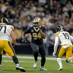 Dec 23, 2018; New Orleans, LA, USA; New Orleans Saints defensive end Cameron Jordan (94) rushes against Pittsburgh Steelers offensive tackle Matt Feiler (71) during the first quarter at the Mercedes-Benz Superdome. Mandatory Credit: Derick E. Hingle-USA TODAY Sports