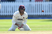 Marcus Trescothick of Somerset fielding in the slips on his knees during the Specsavers County Champ Div 1 match between Somerset County Cricket Club and Lancashire County Cricket Club at the Cooper Associates County Ground, Taunton, United Kingdom on 5 September 2018.