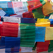 India. Bihar. Bodhgaya, the town where the Buddha sat under a sacred fig tree (bhodi tree) and received enlightenment. Prayer flags.
