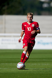 BANGOR, WALES - Thursday, August 30, 2012: Wales' captain Joseff Morrell in action against Poland during the International Friendly Under-16's match at the Nantporth Stadium. (Pic by David Rawcliffe/Propaganda)
