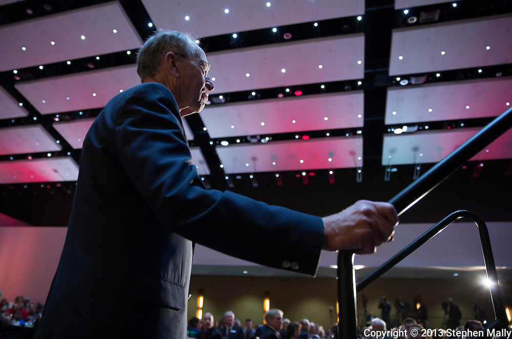 DES MOINES, IA - OCTOBER 25, 2013: Senator Chuck Grassley, Republican of Iowa, waits to speak at the Iowa GOP Ronald Reagan Dinner at the Iowa Events Center - Community Choice Credit Union Convention Center in Des Moines, Iowa.