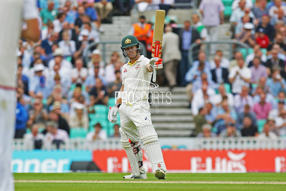 David Warner of Australia celebrates his 50 during the 1st day of the 5th Investec Ashes Test match between England and Australia at The Oval, London, United Kingdom on 20 August 2015. Photo by Phil Duncan.