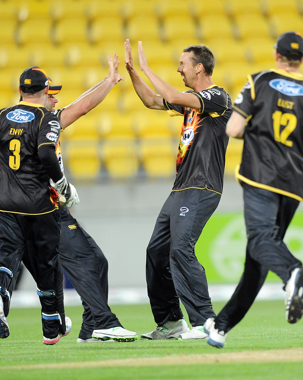 Wellington Firebirds Brent Arnel celebrates the dismissal of Auckland Aces Martin Guptill in the HRV T20 cricket match at Westpac Stadium, Wellington, New Zealand, Saturday, November 23, 2013. Credit:SNPA / Ross Setford