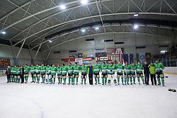 Players of  EHC Bregenzerwald celebrates victory during 5th game of final INL league ice hockey match between HK Playboy Slavija and EHC Bregenwald at Dvorana Zalog, on April 3, 2013, in Ljubljana, Slovenia. (Photo by Matic Klansek Velej / Sportida)