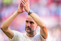 August 5, 2018 - Joseph Guardiola manager of Manchester City celebrates during the 2018 FA Community Shield match between Chelsea and Manchester City at Wembley Stadium, London, England on 5 August 2018. (Credit Image: © AFP7 via ZUMA Wire)