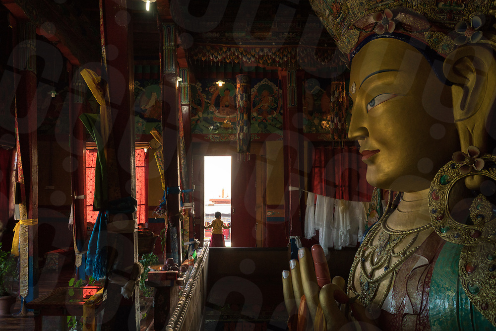 October 11 - 2016 - Leh, Ladakh (India). View of the 40 ft. statue of Maitreya Buddha, built inside the Thiksey Monastery a few km from Leh. © Thomas Cristofoletti / Ruom