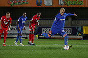 AFC Wimbledon striker Joe Pigott (39) scoring penalty during the Leasing.com EFL Trophy match between AFC Wimbledon and Leyton Orient at the Cherry Red Records Stadium, Kingston, England on 8 October 2019.