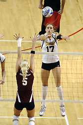 24 November 2006: Katie Niggmeyer hits towards Katelyn Panzau during a Semi-final match between the Missouri State Bears and the Wichita State Shockers. The Tournament was held at Redbird Arena on the campus of Illinois State University in Normal Illinois.<br />