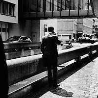Banker outside UBS headquarters Zurich.