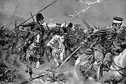 Russo-Japanese War 1904-1905: Combat between Cossacks and Japanese Cavalry in a thunderstorm at the Battle of Wafangkou, 15 June 1904