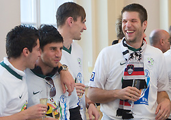 Robert Koren, Bojan Jokic, Milivoje Novakovic and Bostjan Cesar at Reception of Slovenian National football team at president of Republic of Slovenia dr. Danilo Turk after Slovenia qualified for the FIFA World Cup South Africa 2010, in President's place , Ljubljana, Slovenia.   (Photo by Vid Ponikvar / Sportida)