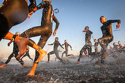 Triathletes take to the water during the elite male wave in the 13th annual Herbalife Triathlon Los Angeles on Sunday, September 30, 2012 in Venice, Calif. The triathletes will take part in a .9 mile swim before transitioning into a 24 mile bike ride and 6.2 mile run.