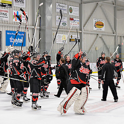 """FORT FRANCES, ON - May 1, 2015 : Central Canadian Junior """"A"""" Championship, game action between the Fort Frances Lakers and the Toronto Patriots, semi-final game of the Dudley Hewitt Cup. Fort Frances Lakers players salute the over 1,200 fans after their victory over the Toronto Patriots.<br /> (Photo by Shawn Muir / OJHL Images)"""