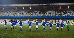 CESENA, ITALY - Tuesday, January 22, 2019: Italy players celebrated after their 2-0 victory during the International Friendly between Italy and Wales at the Stadio Dino Manuzzi. Christiana Girelli, Ilaria Mauro, Giulia Bursi, captain Sara Gama, Manuela Giugliano, Laura Fusetti, Stefania Tarenzi, Barbara Bonansea, Valentina Bergamaschi, Valentina Cernoia, goalkeeper Rosalia Pipitone. (Pic by David Rawcliffe/Propaganda)