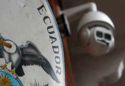 © Licensed to London News Pictures. 13/02/2018. London, UK. A security camera, installed by Julian Assange, outside the Embassy of Ecuador in London following a court ruling on his arrest warrant of WikiLeaks founder Julian Assange. The Australian and Ecuadoran national skipped bail to enter the embassy in 2012 in order to avoid extradition to Sweden over allegations of sexual assault and rape, which he denies. Photo credit: Ben Cawthra/LNP