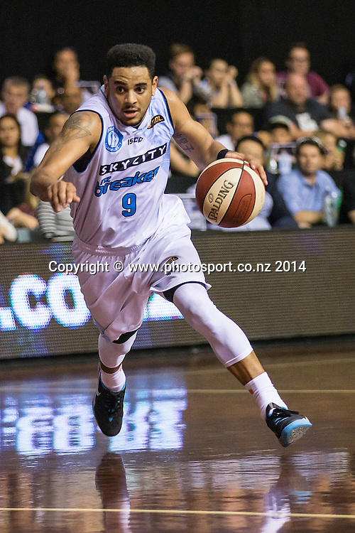 Breakers` Corey Webster in the game between SkyCity Breakers v Townsville Crocodiles. 2014/15 ANBL Basketball Season. North Shore Events Centre, Auckland, New Zealand, Friday, December 19, 2014. Photo: David Rowland/Photosport