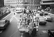 Ravers on top of vans, driving through London protesting at the 2nd Criminal Justice March, Victoria, London, UK, 23rd of July 1994.