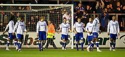 CARLISLE, ENGLAND - Tuesday, November 2, 2010: Tranmere Rovers players look dejected as Carlisle United score the second goal during the Football League One match at Brunton Park. (Pic by: David Rawcliffe/Propaganda)