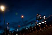 Belo Horizonte_MG, Brasil...Wander do Prado Moura, corredor, treina na pista de corrida de uma faculdade. Ele e recordista sul-americano e pan-americano dos 3000m com obstaculos...Wander do Prado Moura, runner, he trains on the track running in a college. He is South American and Pan-American champion of the 3000m steeplechase...Foto: LEO DRUMOND / NITRO