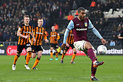 Aston Villa midfielder Lewis Grabban (45) controls the ball  during the EFL Sky Bet Championship match between Hull City and Aston Villa at the KCOM Stadium, Kingston upon Hull, England on 31 March 2018. Picture by Mick Atkins.
