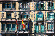 Basque, Spanish and European Union EU flag on Delegation of the Government in Bizkaia at Plaza Moyua in Bilbao, Spain