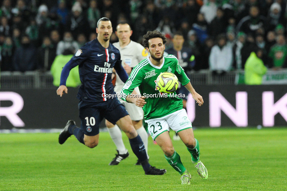 Paul BAYSSE / Zlatan IBRAHIMOVIC - 25.01.2015 - Saint Etienne / PSG - 22eme journee de Ligue1<br /> Photo : Jean Paul Thomas / Icon Sport