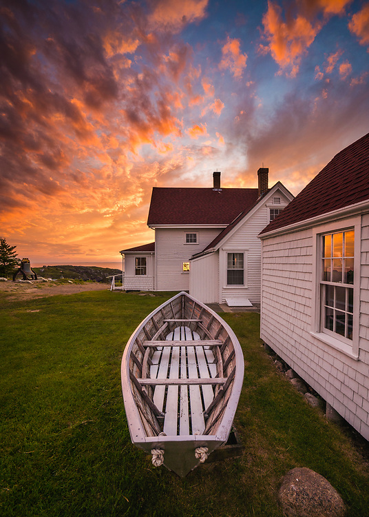 Nothing can prepare you for moments like this, but you can at least try to be ready. An absolutely stunning sunset lit the sky above the Lighthouse Museum on Monhegan Island on our visit. I knew that I wanted to incorporate the iconic dory into my photo somehow, and using the boards as leading lines directly to a perfectly placed window and the old Keeper's House couldn't have been more effective. I love it here.