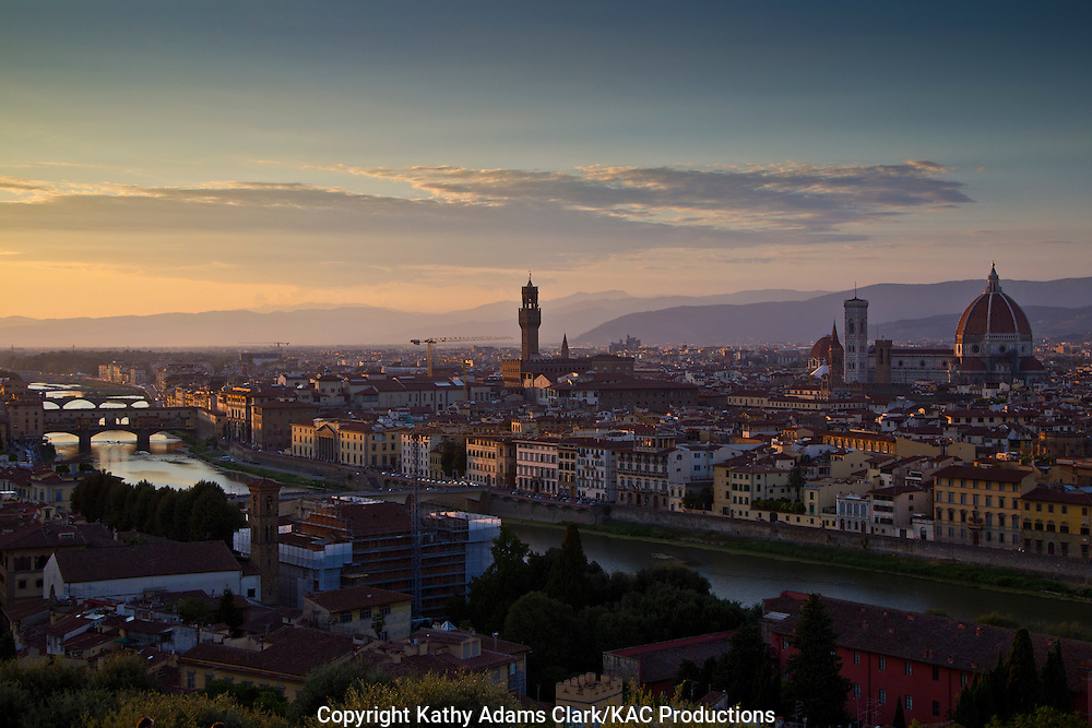Florence at sunset, Firenze, Italy, from piazzale michelangelo florence
