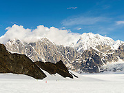 View of Denali (Mt. McKinley) and the Alaska Range from the Ruth Glacier on a sightseeing flight from Talkeetna, Alaska.
