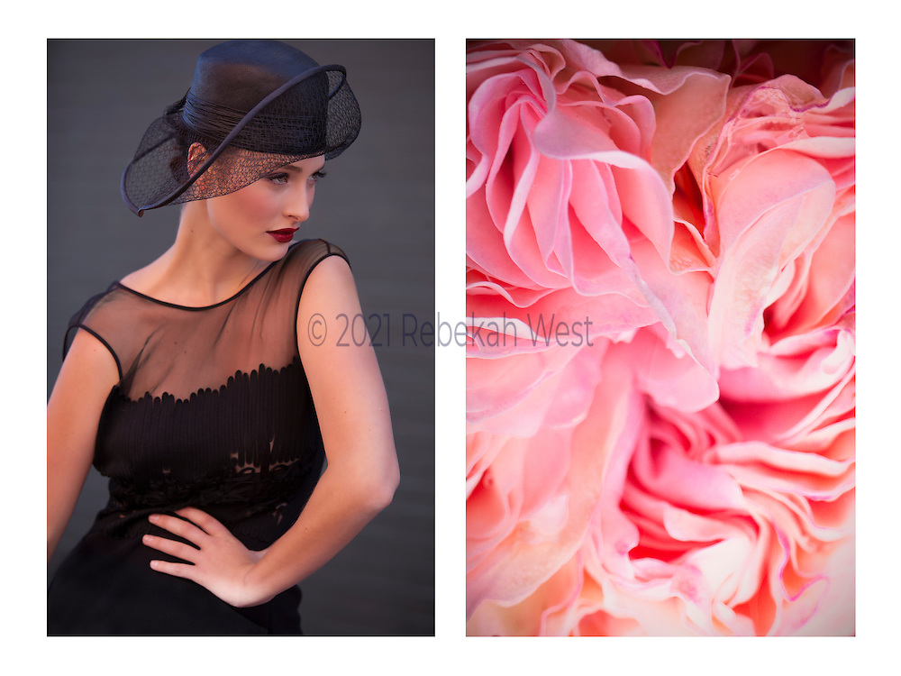 "Caption: ""Lèvres rouge"" Genus: Wonder.  Diptych photographic art by Rebekah West. Description: Horizontal pairing of images: woman in black couture hat and black net dress with red lips and saucy fashion gesture, and close up of a twist of multiple pink rose petals."