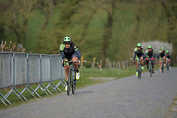 Marta Tagliaferro pushes the pace across the Haaghoek cobbles.