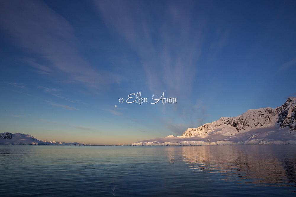 full moon at sunset, Wilhelmina Bay, Antarctica