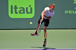 April 1, 2018 - Miami, FL, United States - Miami, FL - APRIL 1: Alexander Zverev (GER) in action during the Finals of the 2018 Miami Open held at the Tennis Center at Crandon Park on April 1, 2018.   Credit: Andrew Patron/Zuma Wire (Credit Image: © Andrew Patron via ZUMA Wire)