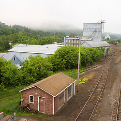 The railroad yard in St Johnsbury in Vermont USA