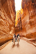 Middle East, Jordan, Petra, UNESCO World Heritage Site. Al-Siq The main entrance into the city. A 1207 metres long 3 to 16 metres wide and 100 Meters high natural gorge.