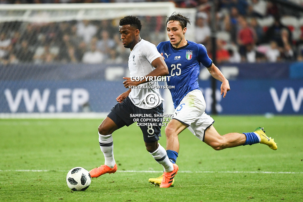 Thomas Lemar of France and Federico Chiesa of Italy during the International Friendly match between France and Italy at Allianz Riviera Stadium on June 1, 2018 in Nice, France. (Photo by Anthony Dibon/Icon Sport)