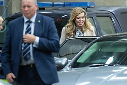 © Licensed to London News Pictures. 19/11/2019. Salford, UK. CARRIE SYMONDS (Boris Johnson's partner) leaves after the event . A protest takes place outside the venue . Conservative Party leader Boris Johnson and Labour Party leader Jeremy Corbyn attend a televised election hustings at ITV Studios at Media City as part of their respective campaigns to win the upcoming general election and become the next British Prime Minister . Photo credit: Joel Goodman/LNP