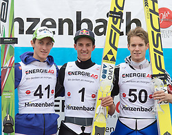27.09.2015, Energie AG Skisprung Arena, Hinzenbach, AUT, FIS Ski Sprung, Sommer Grand Prix, Hinzenbach, im Bild Siegerpodest GP Hinzenbach, v.l. Peter Prevc (SLO, 2.Platz), Gregor Schlierenzauer (AUT, 1. Platz), Kenneth Gagnes (NOR, 3.Platz),// during FIS Ski Jumping Summer Grand Prix at the Energie AG Skisprung Arena, Hinzenbach, Austria on 2015/09/27. EXPA Pictures © 2015, PhotoCredit: EXPA/ Reinhard Eisenbauer