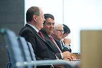 """15 MAY 2012, BERLIN/GERMANY:<br /> Peer Steinbrueck (L), SPD, Bundesminister a.D., Sigmar Gabriel (M), SPD Parteivorsitzender, Frank-Walter Steinmeier (R), SPD Fraktionsvorsitzender, Pressekonferenz zum Thema """" Der Weg aus der Krise – Wachstum und Beschäftigung in Europa"""", Bundespressekonferenz<br /> IMAGE: 20120515-01-041<br /> KEYWORDS: Peer Steinbrück"""