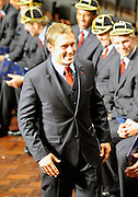 Jonny Wilkinson going up to receive his cap, England official welcoming ceremony, England, rugby union, Dunedin Town Hall, New Zealand. IRB Rugby World Cup 2011. Tuesday 6 September 2011. New Zealand. Photo: Richard Hood/photosport.co.nz