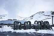 Steam separators at ON POWER Orka Natturunn, the energy of nature green power renewable energy geothermal plant, Reykjavik, South Iceland